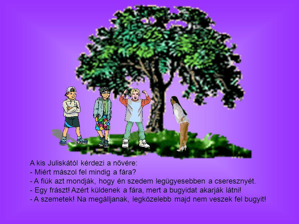A kis Juliskától kérdezi a nővére: - Miért mászol fel mindig a fára
