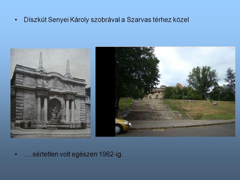 Díszkút Senyei Károly szobrával a Szarvas térhez közel