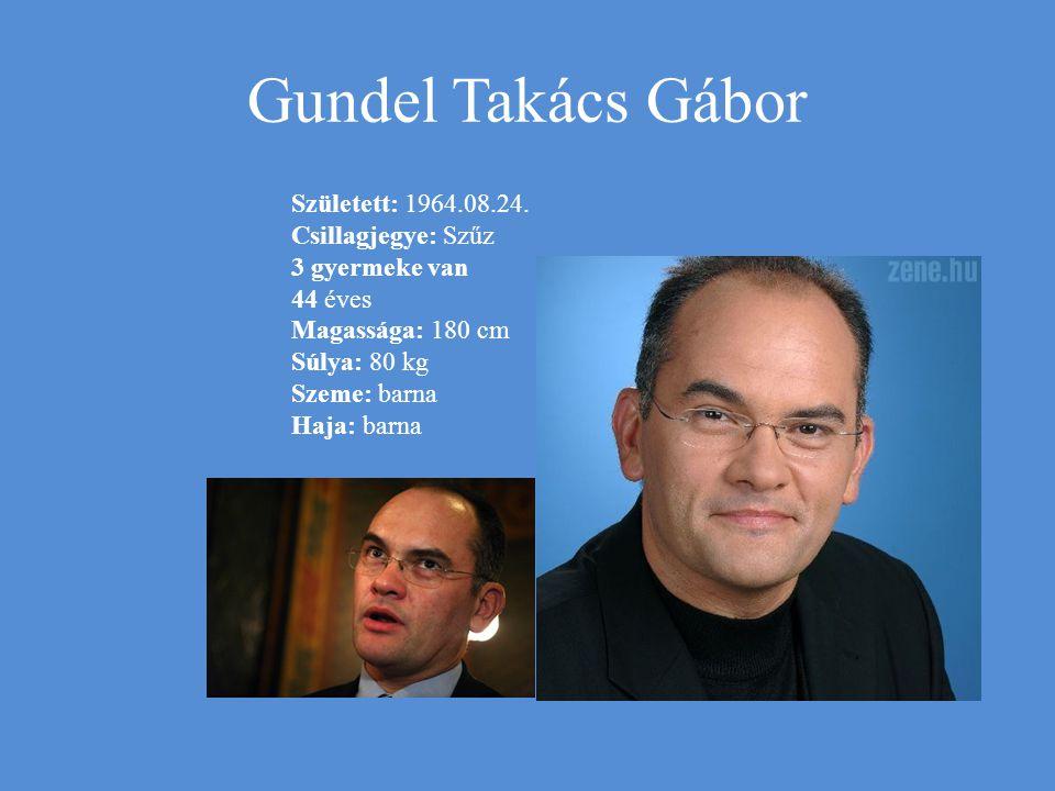 Gundel Takács Gábor Született: 1964.08.24. Csillagjegye: Szűz
