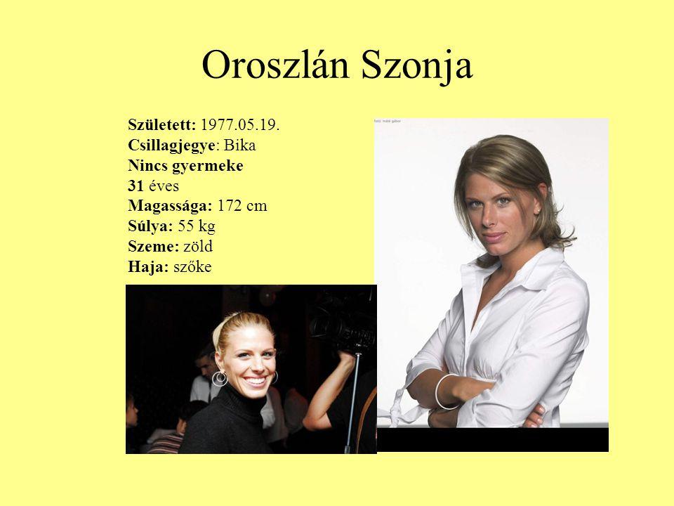Oroszlán Szonja Született: 1977.05.19. Csillagjegye: Bika