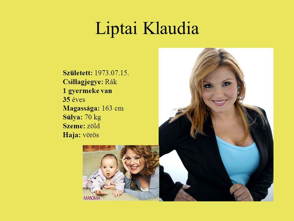 Liptai Klaudia Született: 1973.07.15. Csillagjegye: Rák 1 gyermeke van