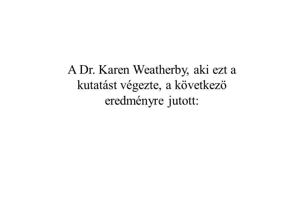 A Dr. Karen Weatherby, aki ezt a kutatást végezte, a következö eredményre jutott: