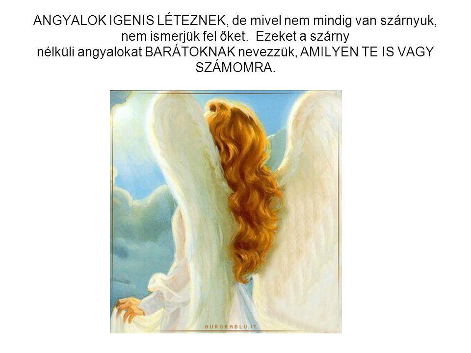 ANGYALOK IGENIS LÉTEZNEK, de mivel nem mindig van szárnyuk, nem ismerjük fel őket. Ezeket a szárny nélküli angyalokat BARÁTOKNAK nevezzük, AMILYEN TE IS VAGY SZÁMOMRA.