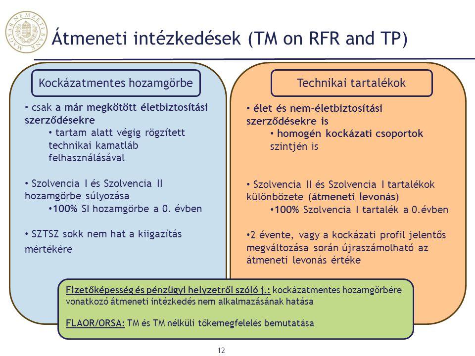 Átmeneti intézkedések (TM on RFR and TP)