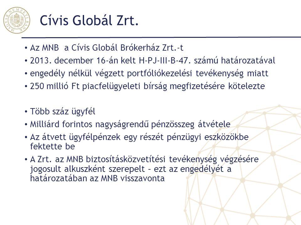 Cívis Globál Zrt. Az MNB a Cívis Globál Brókerház Zrt.-t