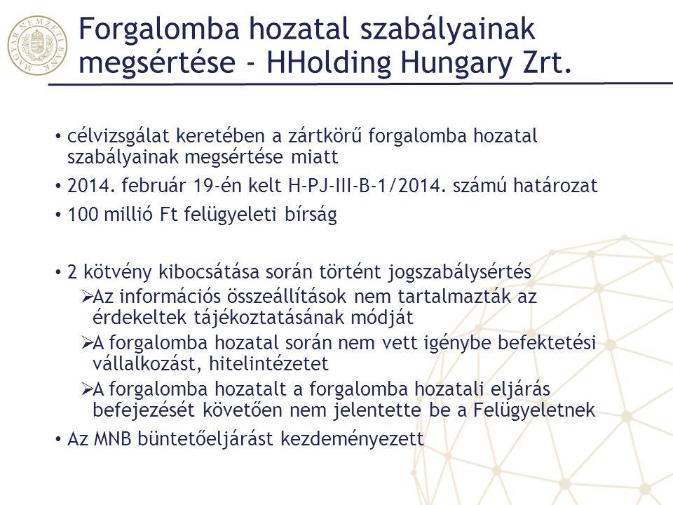 Forgalomba hozatal szabályainak megsértése - HHolding Hungary Zrt.