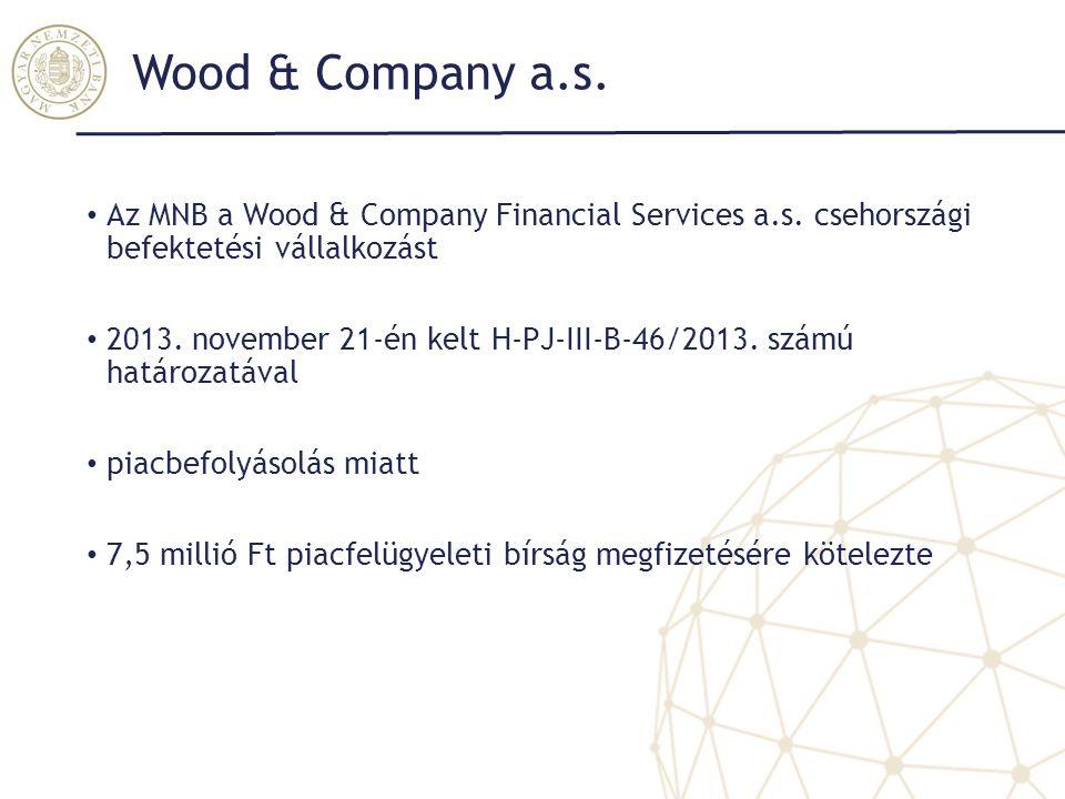 Wood & Company a.s. Az MNB a Wood & Company Financial Services a.s. csehországi befektetési vállalkozást.
