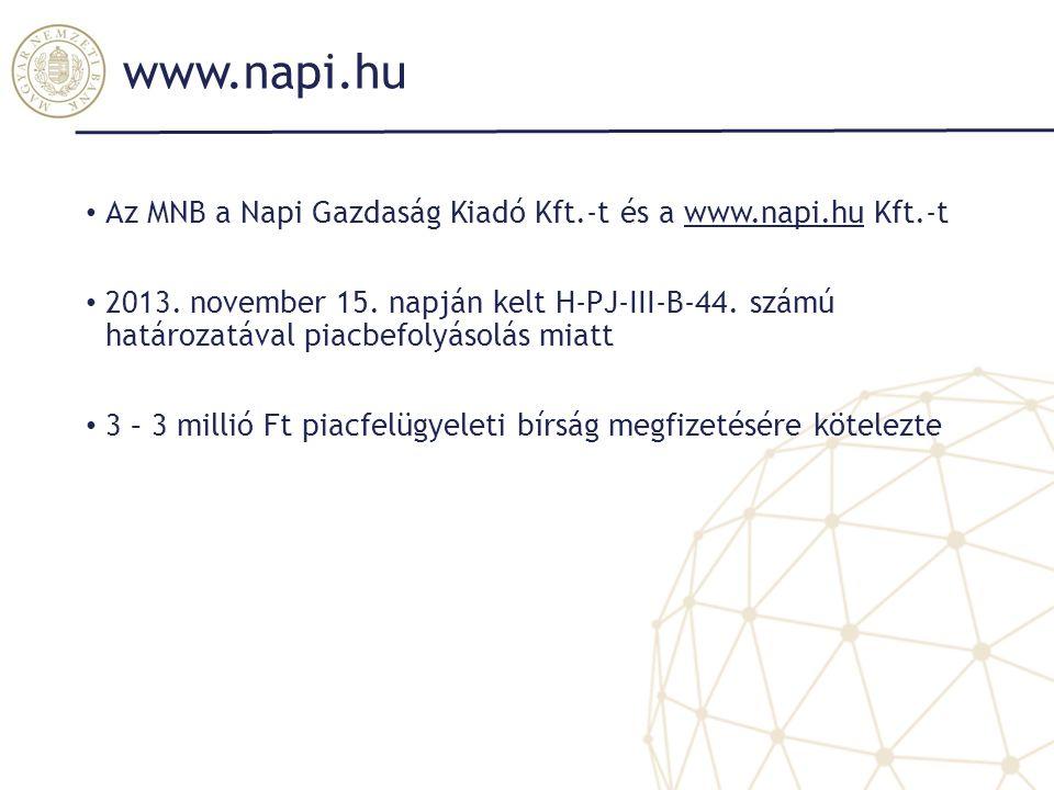 www.napi.hu Az MNB a Napi Gazdaság Kiadó Kft.-t és a www.napi.hu Kft.-t.