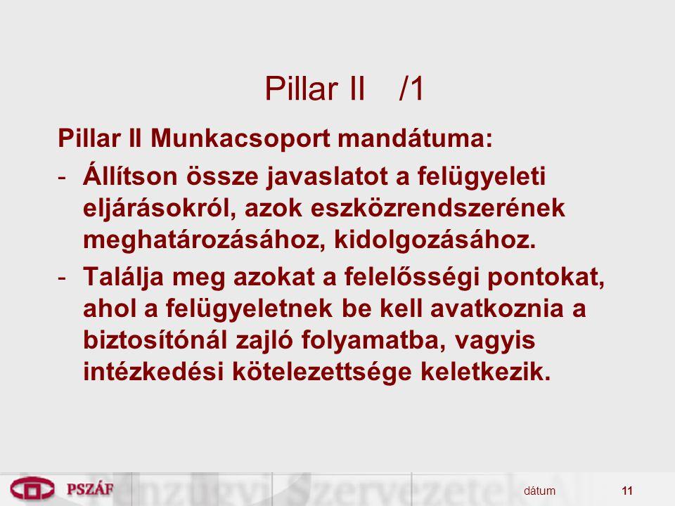 Pillar II /1 Pillar II Munkacsoport mandátuma: