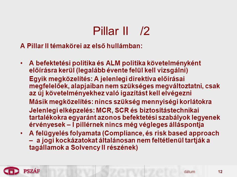 Pillar II /2 A Pillar II témakörei az első hullámban: