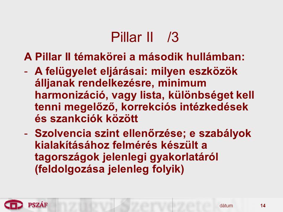 Pillar II /3 A Pillar II témakörei a második hullámban: