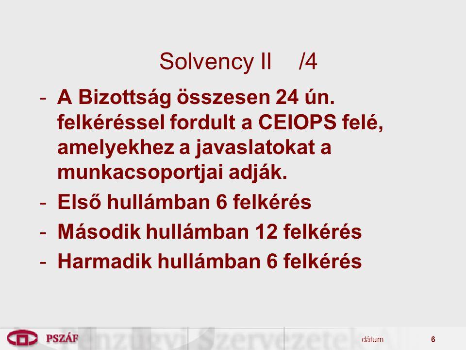 Solvency II /4 A Bizottság összesen 24 ún. felkéréssel fordult a CEIOPS felé, amelyekhez a javaslatokat a munkacsoportjai adják.