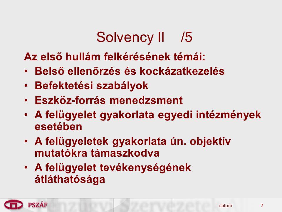 Solvency II /5 Az első hullám felkérésének témái: