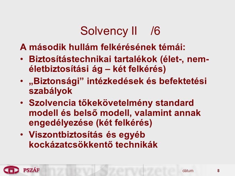 Solvency II /6 A második hullám felkérésének témái: