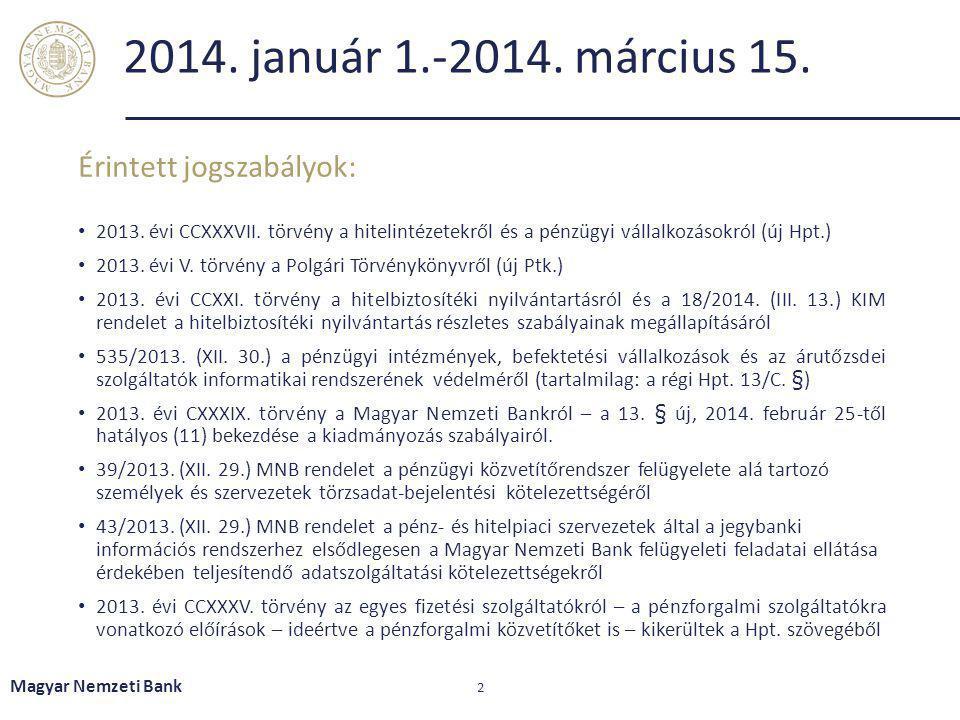 2014. január 1.-2014. március 15. Érintett jogszabályok: