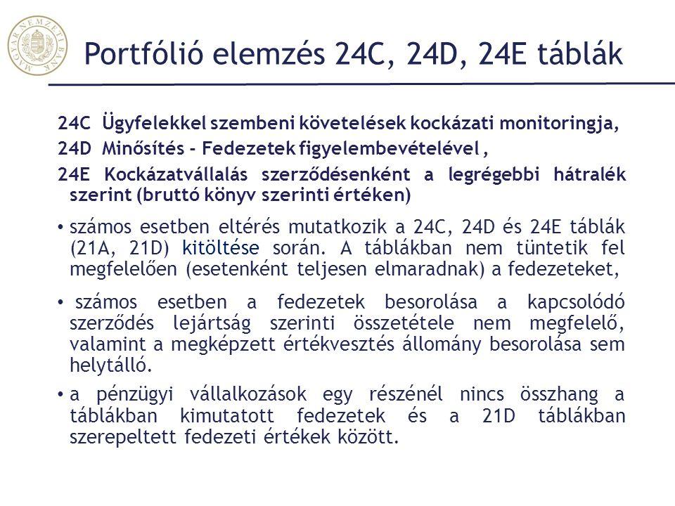 Portfólió elemzés 24C, 24D, 24E táblák
