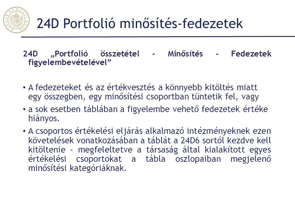 24D Portfolió minősítés-fedezetek
