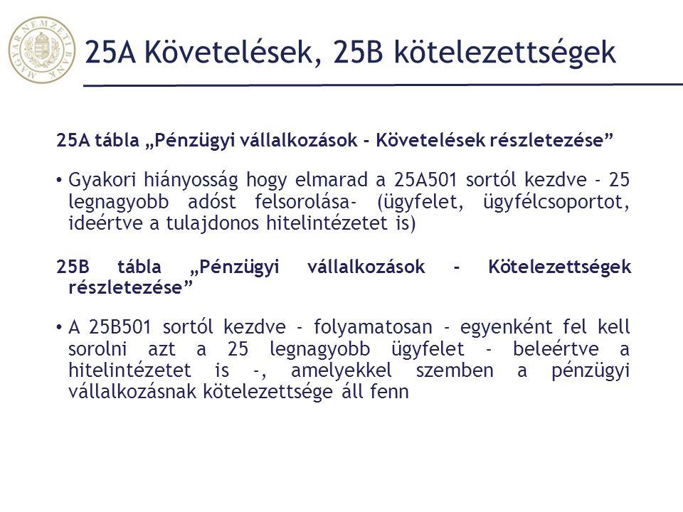 25A Követelések, 25B kötelezettségek