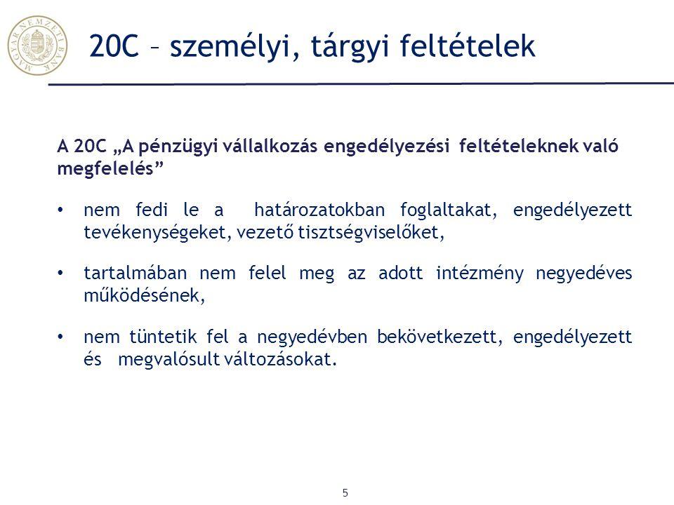20C – személyi, tárgyi feltételek