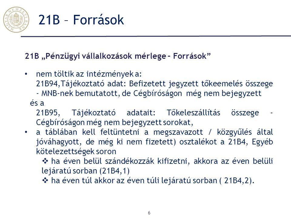 """21B – Források 21B """"Pénzügyi vállalkozások mérlege – Források"""