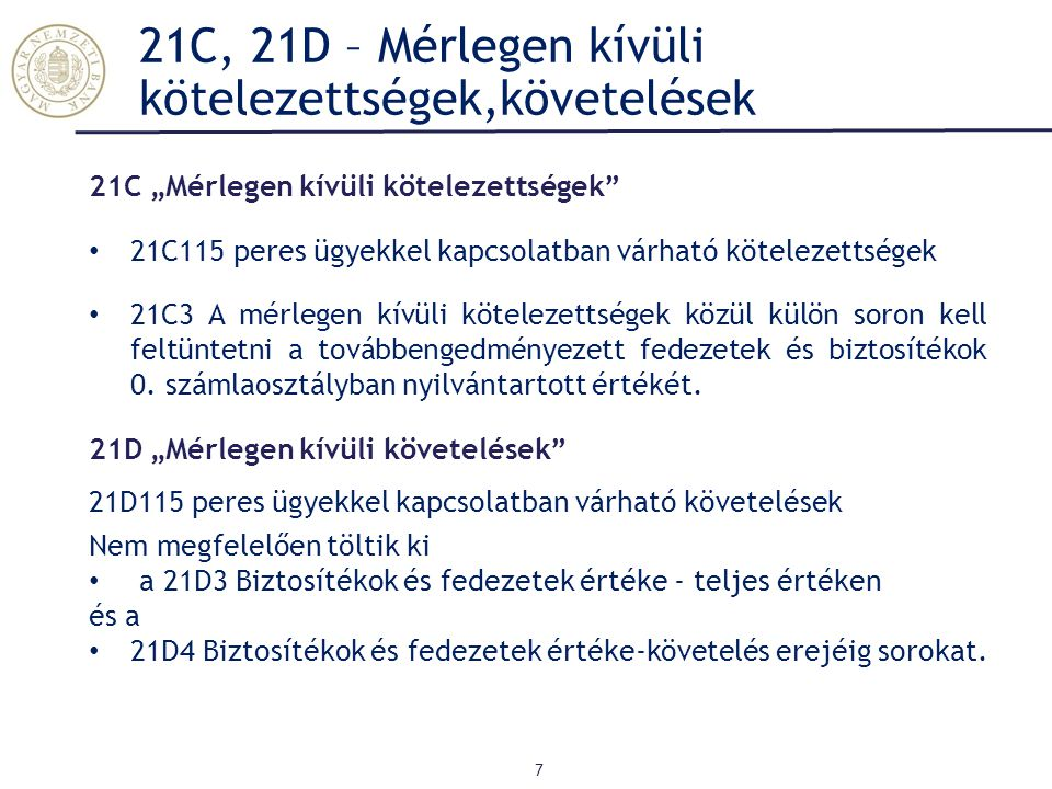 21C, 21D – Mérlegen kívüli kötelezettségek,követelések