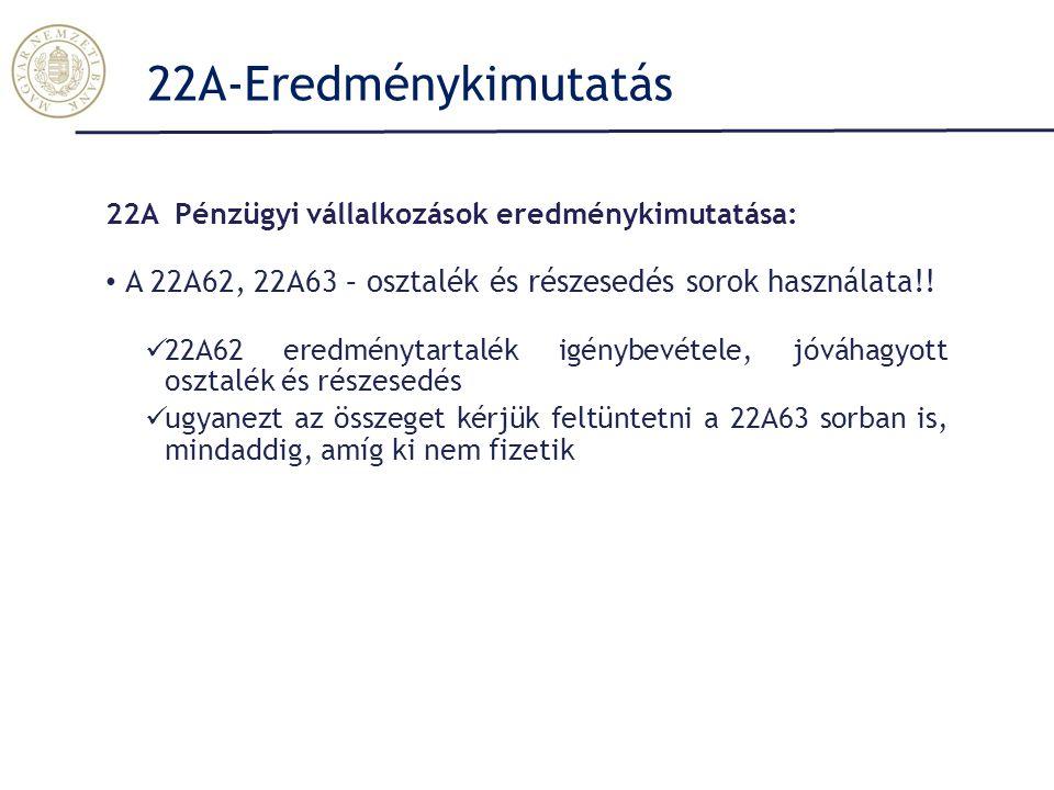 22A-Eredménykimutatás 22A Pénzügyi vállalkozások eredménykimutatása: A 22A62, 22A63 – osztalék és részesedés sorok használata!!