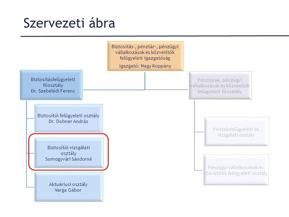 Szervezeti ábra Biztosítás-, pénztár-, pénzügyi vállalkozások és közvetítők felügyeleti igazgatóság.