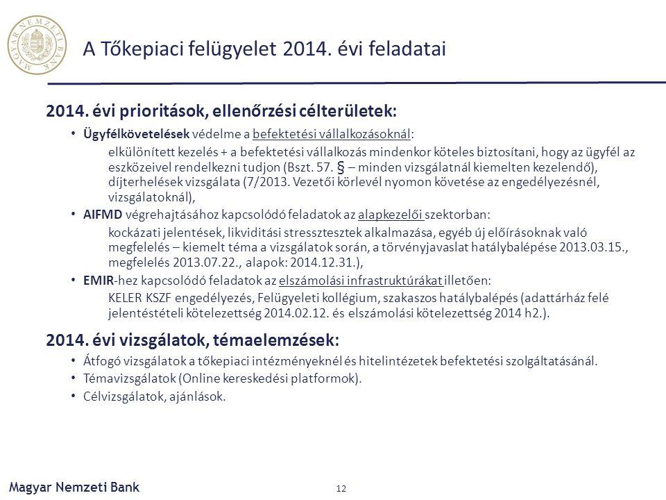 A Tőkepiaci felügyelet 2014. évi feladatai