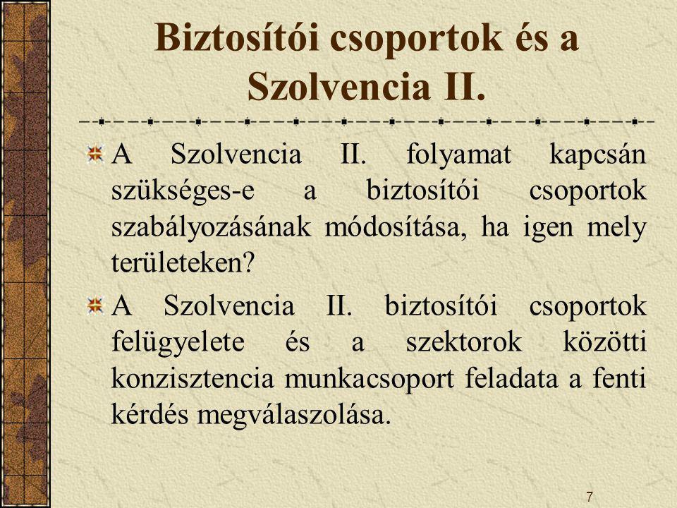 Biztosítói csoportok és a Szolvencia II.