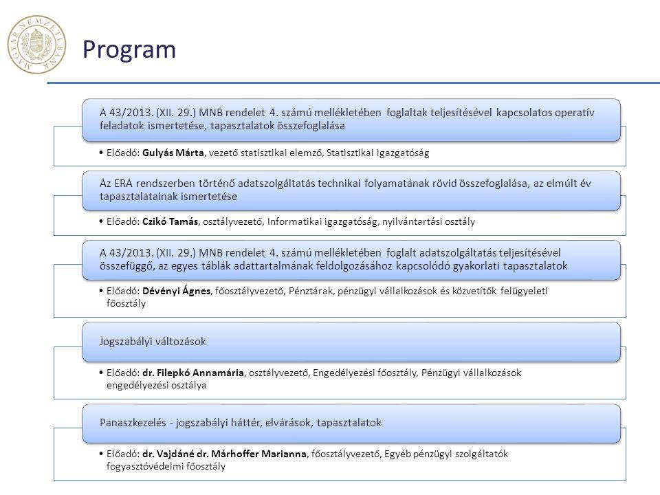 Program Előadó: Gulyás Márta, vezető statisztikai elemző, Statisztikai igazgatóság.