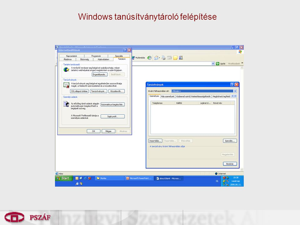 Windows tanúsítványtároló felépítése