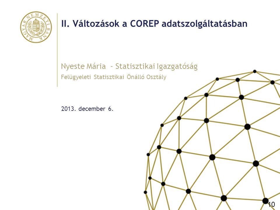 II. Változások a COREP adatszolgáltatásban