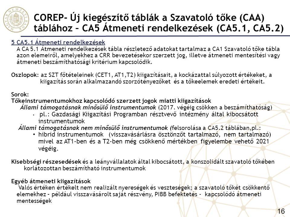 COREP- Új kiegészítő táblák a Szavatoló tőke (CAA) táblához – CA5 Átmeneti rendelkezések (CA5.1, CA5.2)