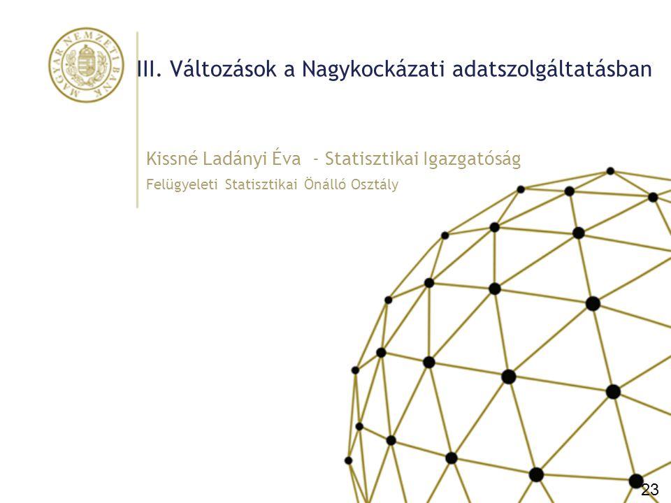 III. Változások a Nagykockázati adatszolgáltatásban