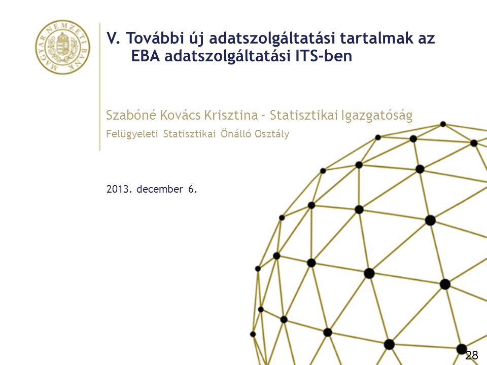 V. További új adatszolgáltatási tartalmak az EBA adatszolgáltatási ITS-ben