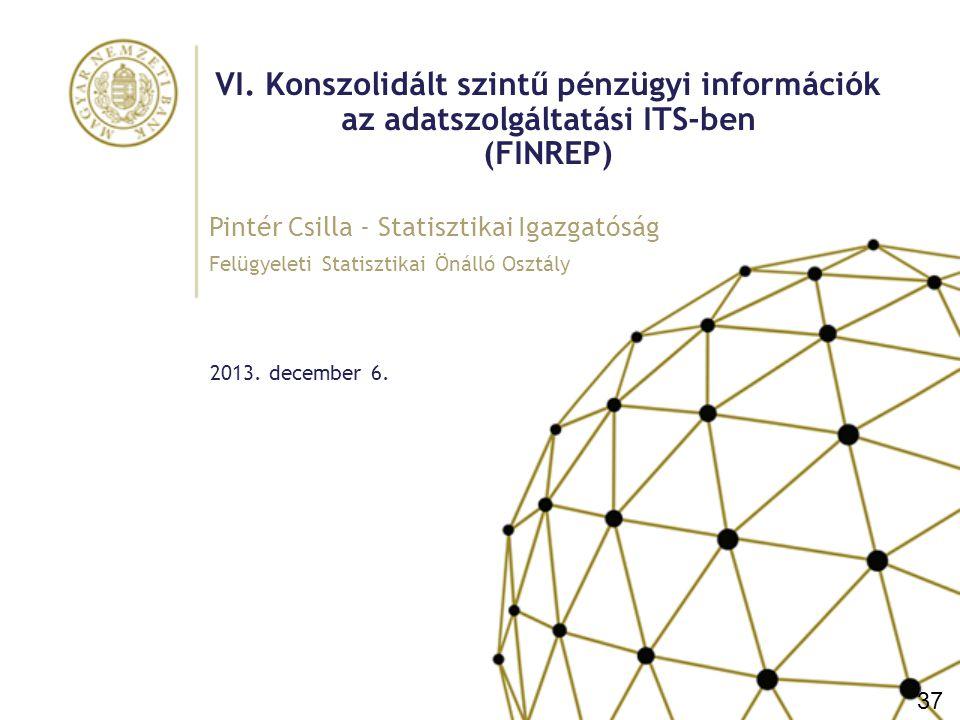 VI. Konszolidált szintű pénzügyi információk az adatszolgáltatási ITS-ben (FINREP)