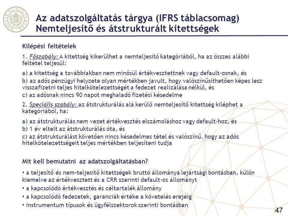 Az adatszolgáltatás tárgya (IFRS táblacsomag) Nemteljesítő és átstrukturált kitettségek