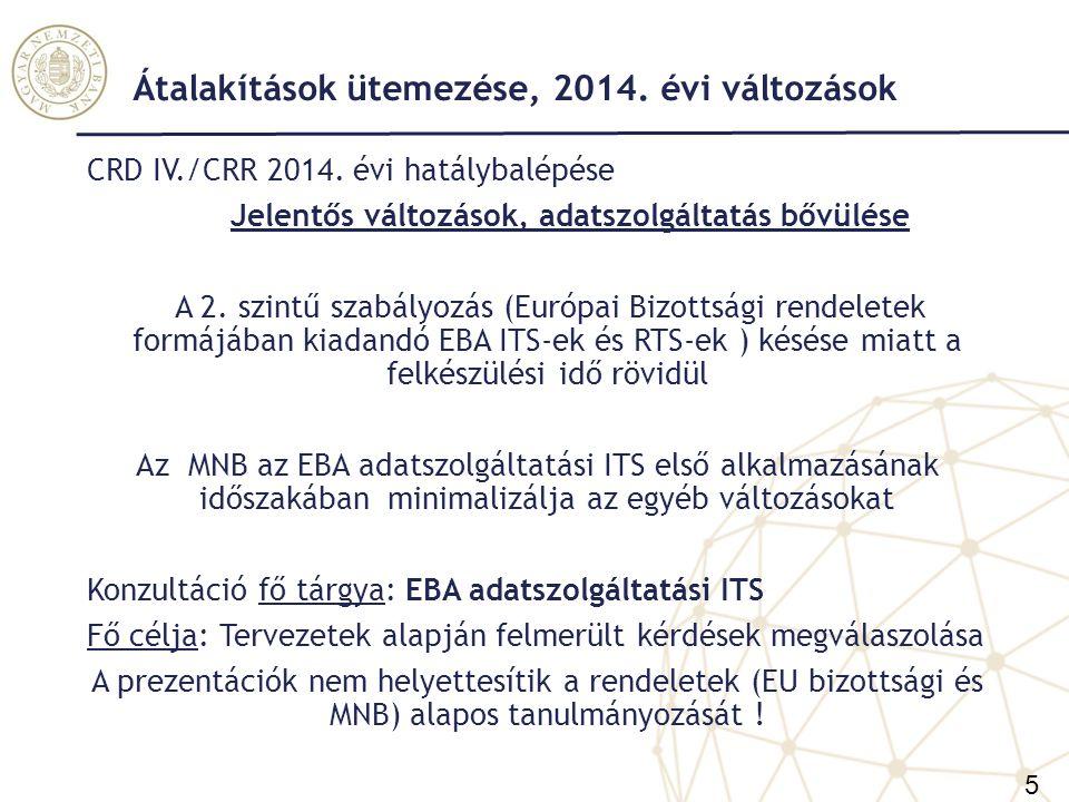 Átalakítások ütemezése, 2014. évi változások