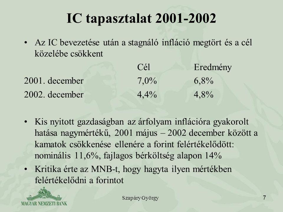 IC tapasztalat 2001-2002 Az IC bevezetése után a stagnáló infláció megtört és a cél közelébe csökkent.