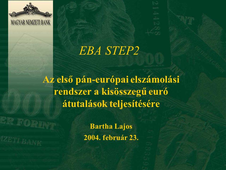 EBA STEP2 Az első pán-európai elszámolási rendszer a kisösszegű euró átutalások teljesítésére. Bartha Lajos.