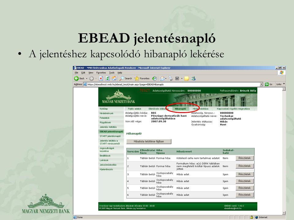 EBEAD jelentésnapló A jelentéshez kapcsolódó hibanapló lekérése
