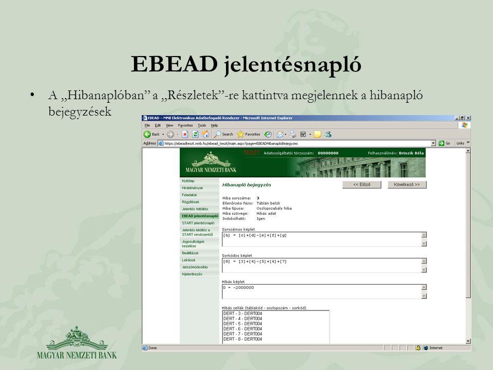 """EBEAD jelentésnapló A """"Hibanaplóban a """"Részletek -re kattintva megjelennek a hibanapló bejegyzések"""