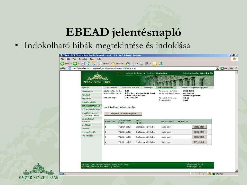 EBEAD jelentésnapló Indokolható hibák megtekintése és indoklása