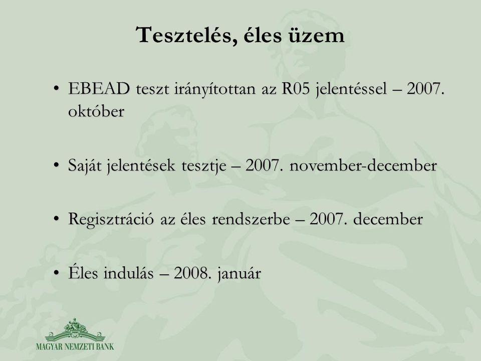 Tesztelés, éles üzem EBEAD teszt irányítottan az R05 jelentéssel – 2007. október. Saját jelentések tesztje – 2007. november-december.