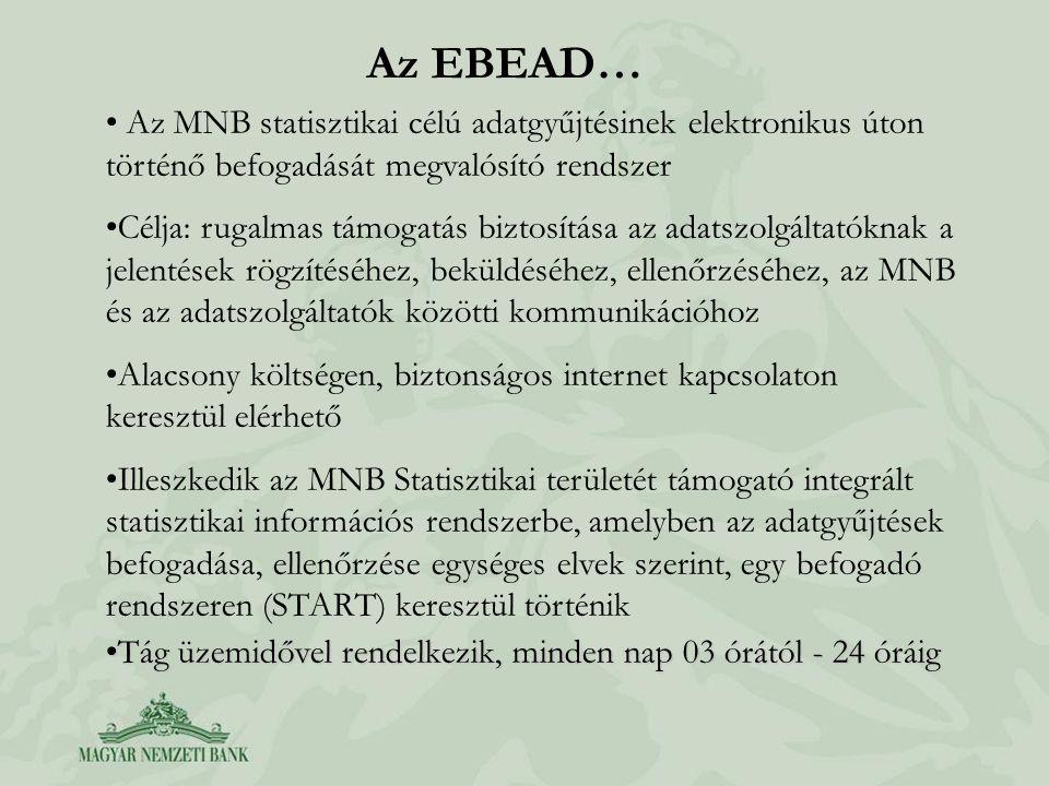 Az EBEAD… Az MNB statisztikai célú adatgyűjtésinek elektronikus úton történő befogadását megvalósító rendszer.