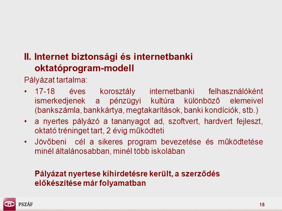 II. Internet biztonsági és internetbanki oktatóprogram-modell