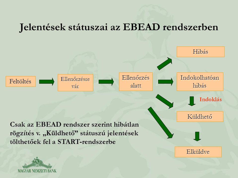 Jelentések státuszai az EBEAD rendszerben