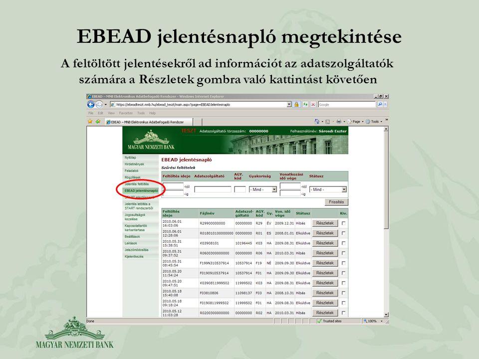 EBEAD jelentésnapló megtekintése