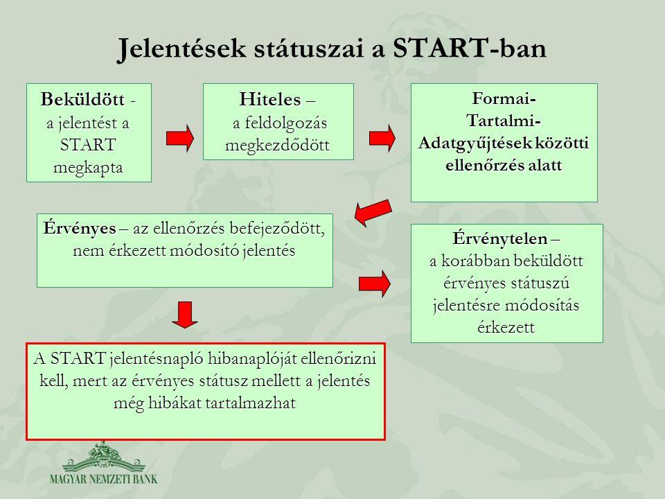 Jelentések státuszai a START-ban