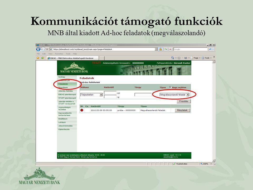 Kommunikációt támogató funkciók MNB által kiadott Ad-hoc feladatok (megválaszolandó)
